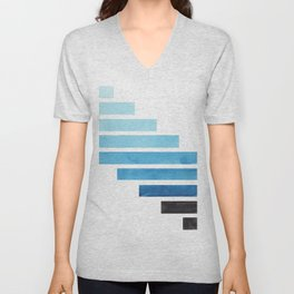 Cerulean Blue Minimalist Mid Century Modern Inca Watercolor Stripes Staggered Symmetrical Pattern Unisex V-Neck