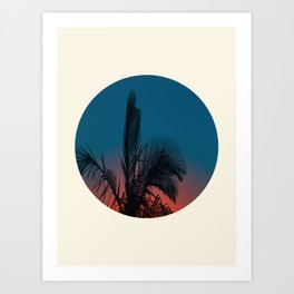 Pink & Blue Sunset With Palm Tree Silhouette Art Print
