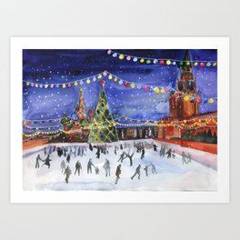 Red square. Winter Moscow Art Print