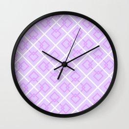 Electric Violet Interlock Pattern Wall Clock