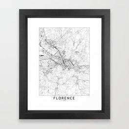 Florence White Map Framed Art Print