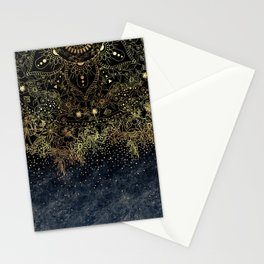 Stylish Gold floral mandala and confetti Stationery Cards