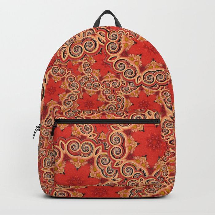 K143 - Red Curls Abstract Backpack