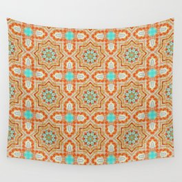 Orange kaleidoscope Star Wall Tapestry