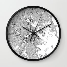 Boston White Map Wall Clock