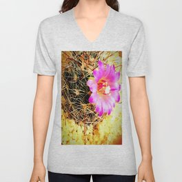 Calm Pink cute flowers bloomed in cactus Unisex V-Neck