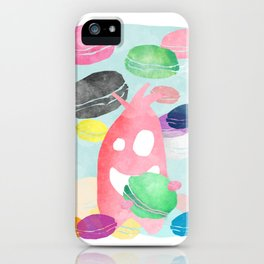 A wild creature in a macaron rain iPhone Case