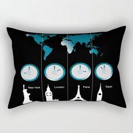 TIME ZONES. NEW YORK, LONDON, PARIS, TOKYO Rectangular Pillow