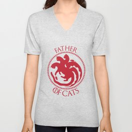 Father of Cats Funny Gift For Cat Lovers Unisex V-Neck