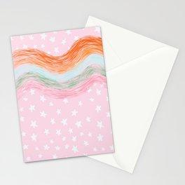 Stars & Rainbow Paint Strokes Pattern Stationery Cards