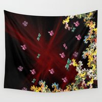 pit bull Wall Tapestries featuring Butterfly Pit by Abstract Designs