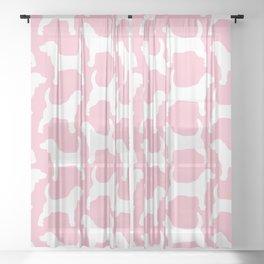 Pink Pastel Beagle Silhouette Sheer Curtain