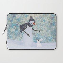 snowman and white rabbit Laptop Sleeve