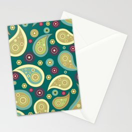 Oriental Persian Paisley, Flowers - Blue Green Stationery Cards