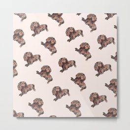 Dog Pattern 2 on Girly Pink Metal Print