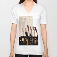 cleveland V-neck T-shirts featuring Guitars Cleveland DownTown by Dawn Marie