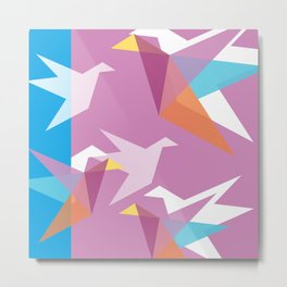 Pastel Paper Cranes Metal Print