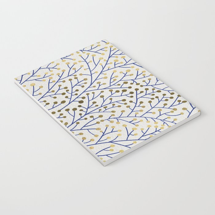 Berry Branches - Navy & Gold Notebook