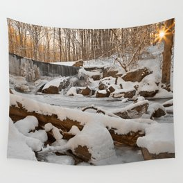 Winter Sunset Waterfall Wall Tapestry