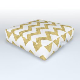Chevron Gold And White Outdoor Floor Cushion