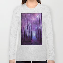 Fantasy Forest Path Purple Pink Long Sleeve T-shirt