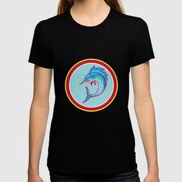 Sailfish Fish Jumping Circle Cartoon T-shirt