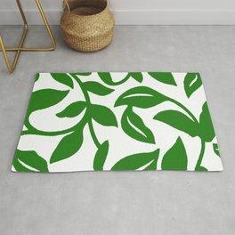 PALM LEAF VINE SWIRL IN GREEN AND WHITE Rug
