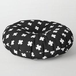 White Swiss Cross Pattern on black background Floor Pillow