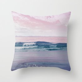 Pacific Dreamscape - Ocean Waves Pink + Blue Throw Pillow