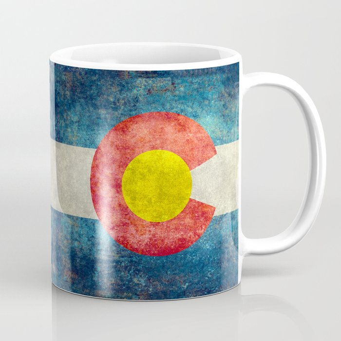 Colorado State Flag in Vintage Grunge Coffee Mug