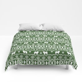 Chow Chow fair isle christmas pattern minimal ugly sweater dog breed Comforters