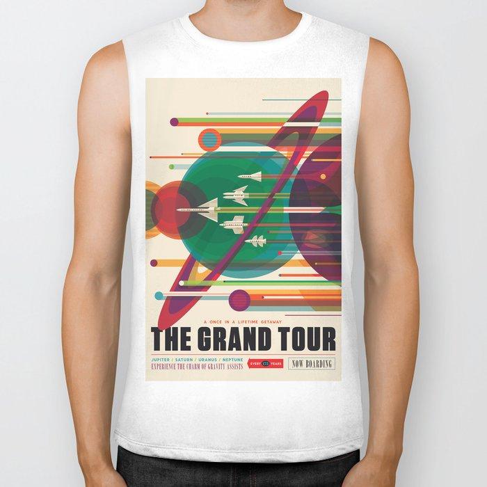 NASA Retro Space Travel Poster The Grand Tour Biker Tank