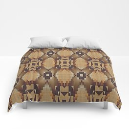 Khaki Tan Orange Dark Brown Native American Indian Mosaic Pattern Comforters