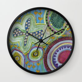 Peaceful Heartfelt Flower Power Wall Clock