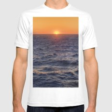 High Sea Windy Storm At Sunset MEDIUM White Mens Fitted Tee