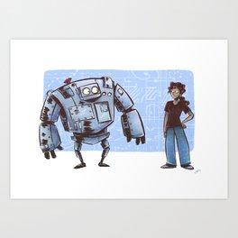 A Girl and her Robot Art Print