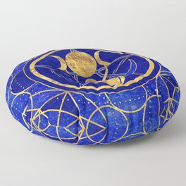 Triple Moon - Goddess -Lapis Lazuli and Gold Floor Pillow