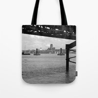 liverpool Tote Bags featuring Liverpool - An Alternative View by Caroline Benzies Photography