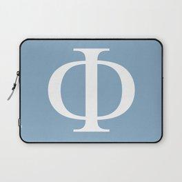 Greek letter Phi sign on placid blue background Laptop Sleeve