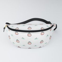 Shark Heads & Fins in Grey on White With Aqua Ripples Fanny Pack