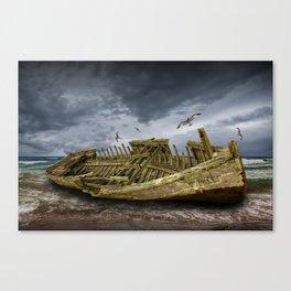 Boat Shipwreck on the Beach Shore Canvas Print