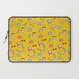 Coffee cup hipster pattern, yellow polka dot cool sunglasses pattern Laptop Sleeve