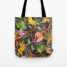 Tropical flowers and leaves pattern Tote Bag