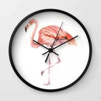onesie Wall Clocks featuring Pink Flamingo by Goosi