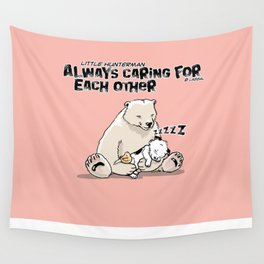 Little Hunterman – Always Caring for Each Other /pink Wall Tapestry