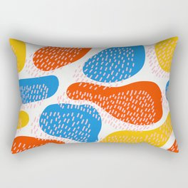 Abstract Orange, Blue and Yellow Memphis Inspired Pattern Rectangular Pillow
