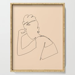 Minimal line drawing of young woman, art and collectibles, printable wall art, vintage posters set. Serving Tray