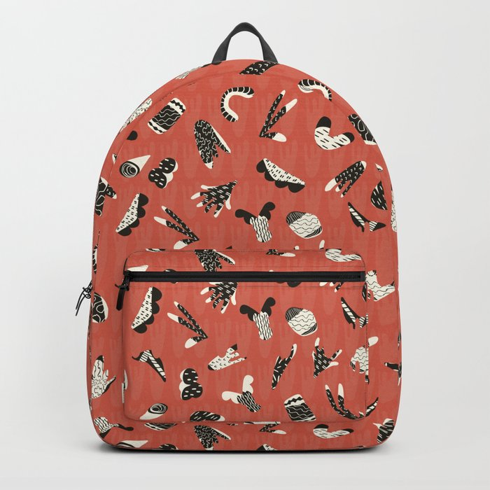Red and Black Abstract Cut Out Shapes Backpack