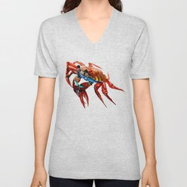 Crab, Sea World Crab Artwork, red crab, restaurant kitchen sea world art Unisex V-Neck