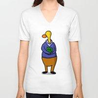 teacher V-neck T-shirts featuring Teacher by Veronica Nagorny